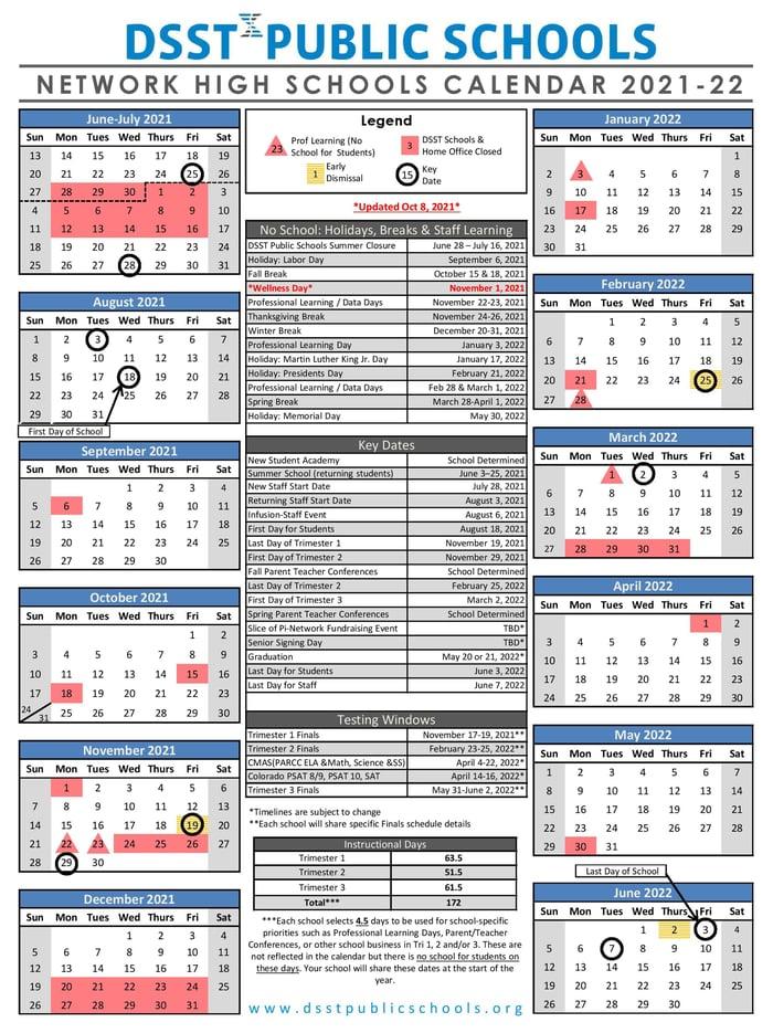 Network High School Calendar 2021-22 - October Updated RESIZED