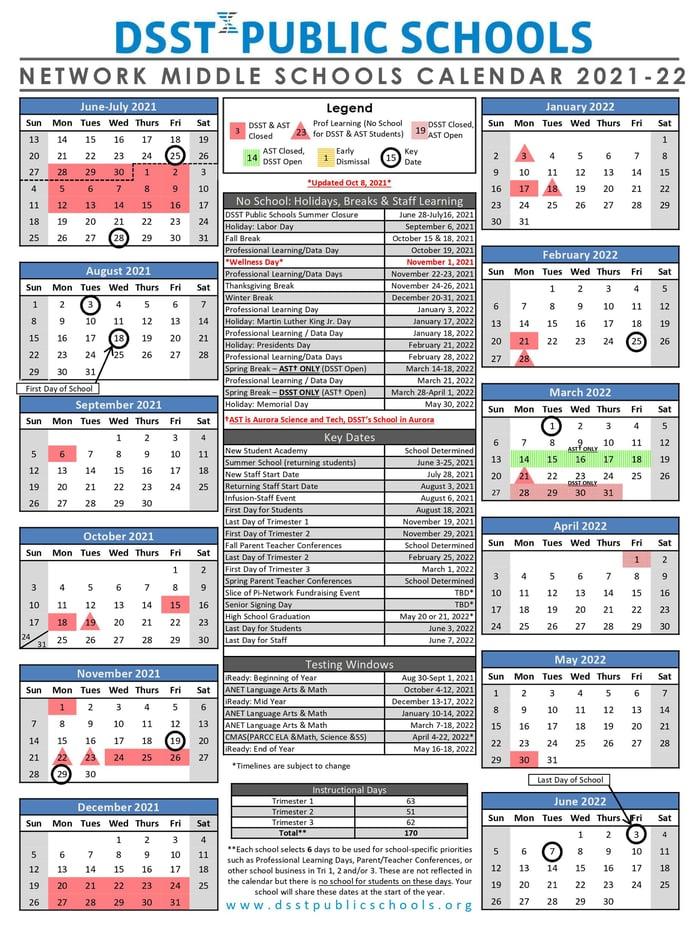 Network Middle School Calendar 21-22 October Update RESIZED